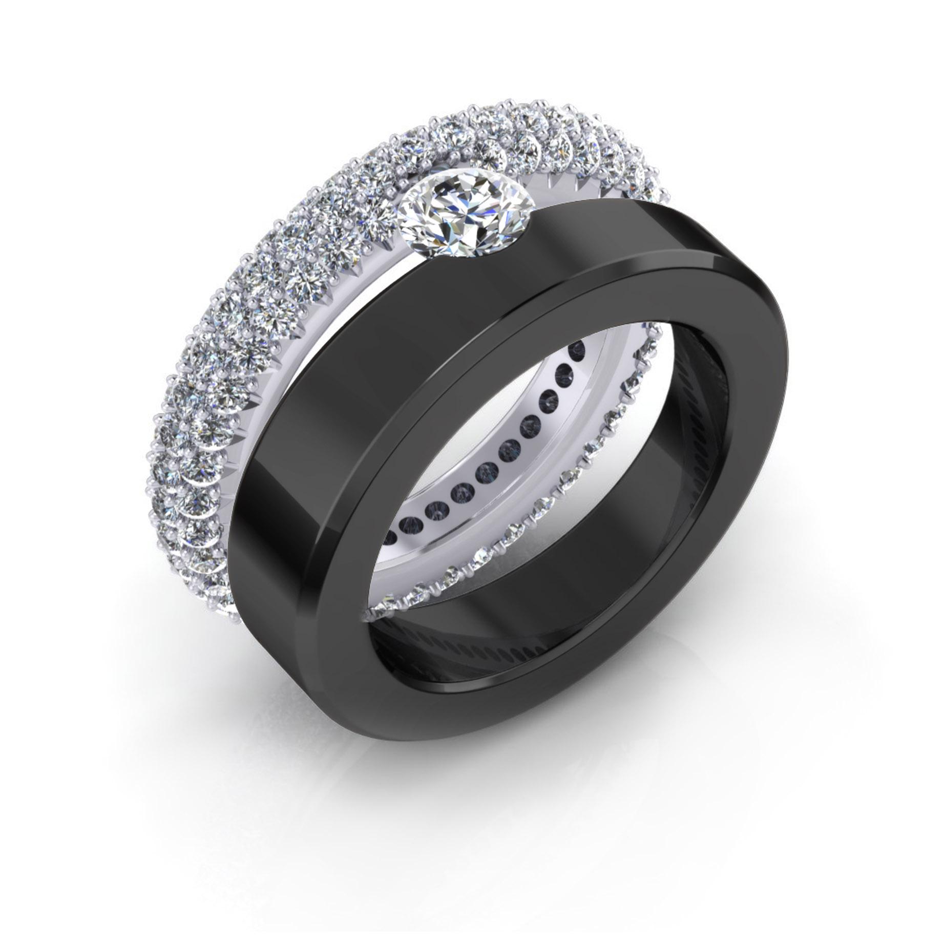 Anells de compromis en or blanc 18k 59 diamants