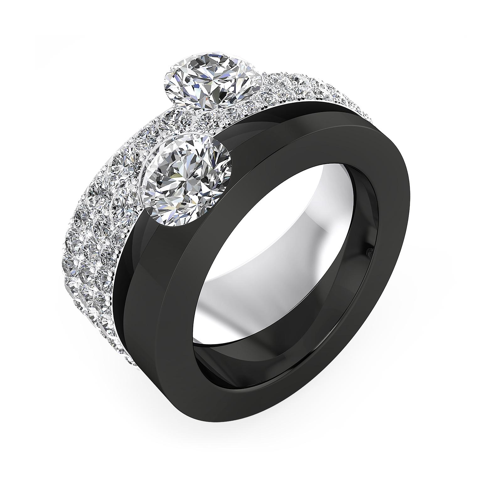 Anells de compromis or blanc amb diamants 2 diamants centrals