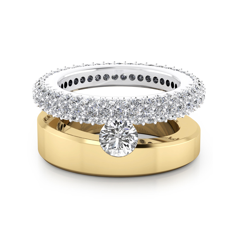 Anells de compromis en or groc blanc 18k 59 diamants