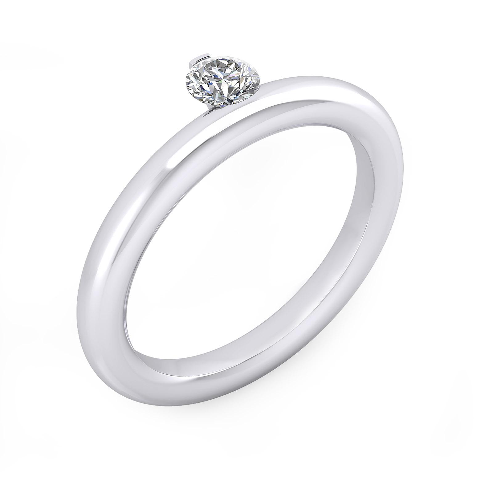Anells de compromis or blanc 1 diamant central