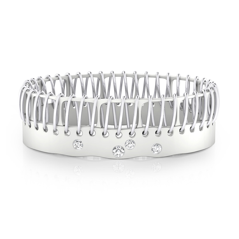 Bracalets en or blanc 18k 4 diamants