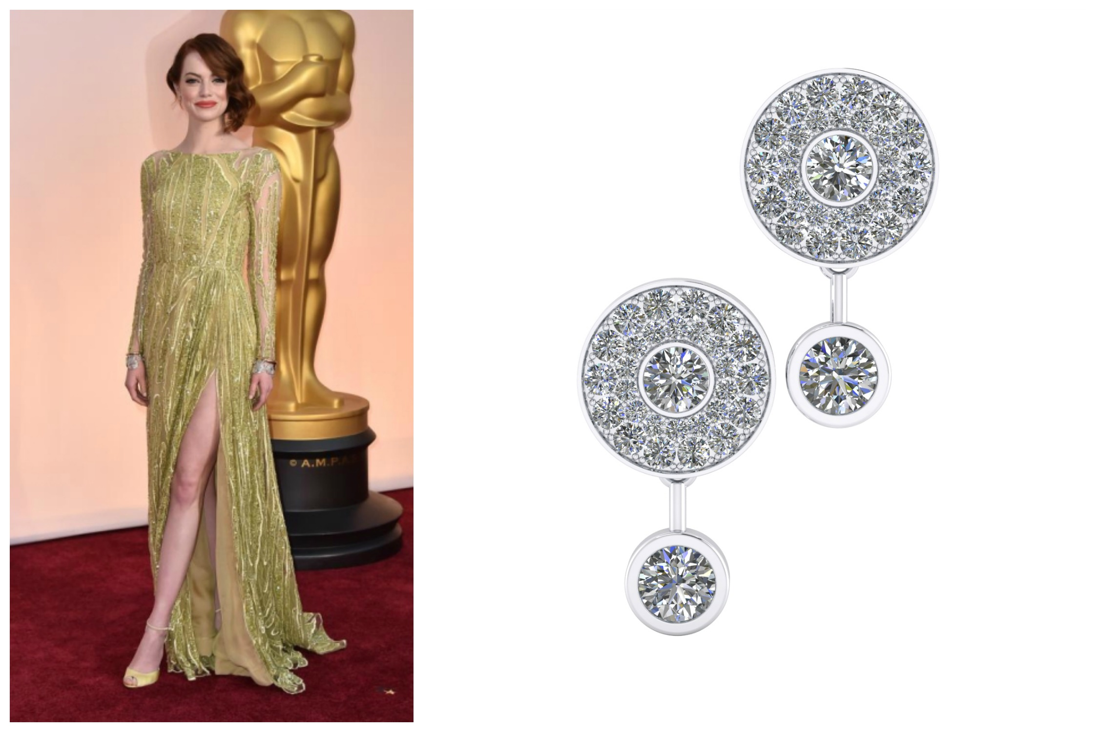 Emma Stone CP - Beautiful earrings in 18k white gold and 68 diamonds Clemency Peris