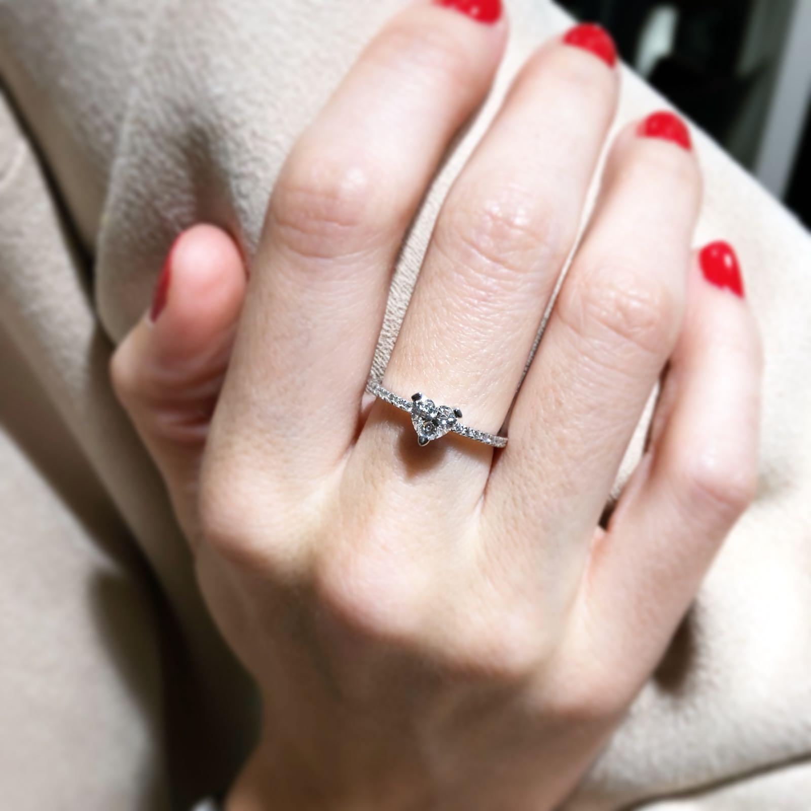 solitario de compromiso diamante corazón