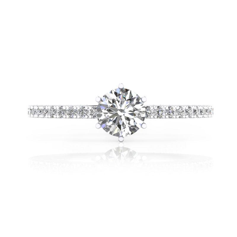 solitario de compromiso diamante talla brillante y pasé