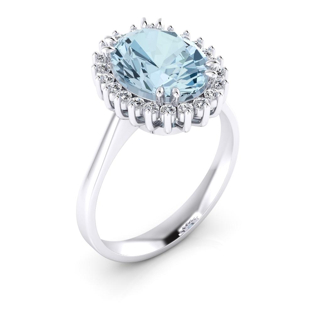 anillo de compromiso con aguamarina