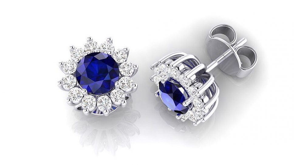 pendientes con zafiros y diamantes