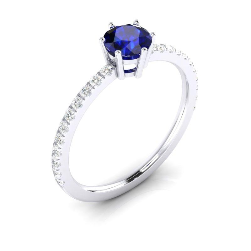 anillos de compromiso zafiro solitario