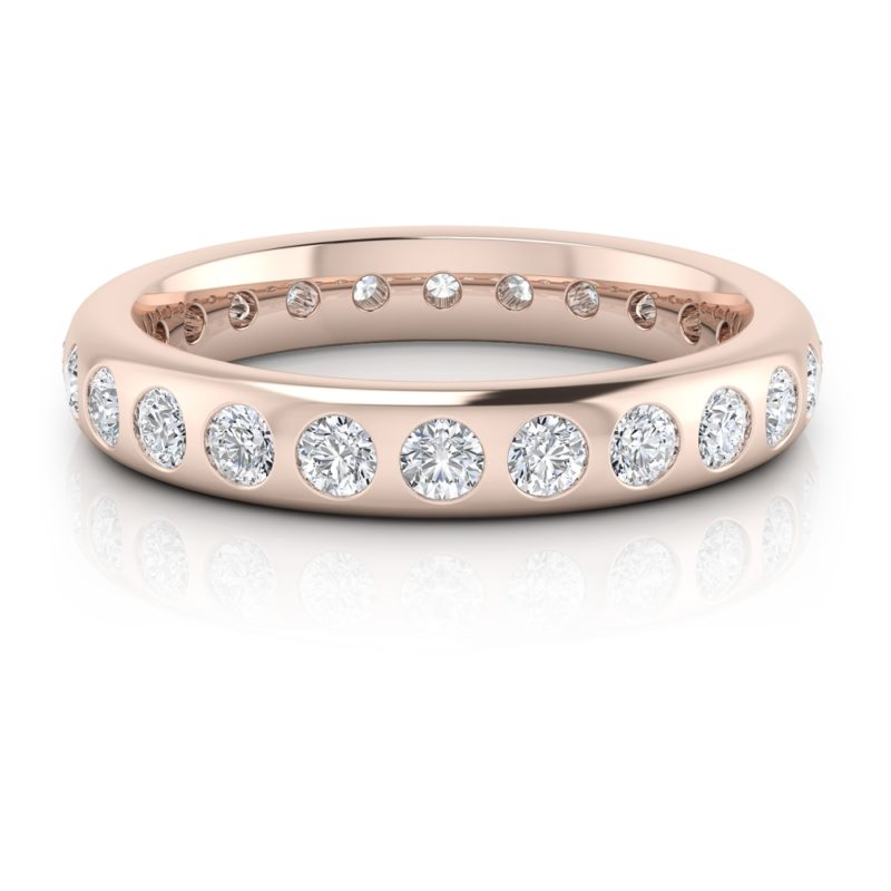 alianza oro rosa con diamantes