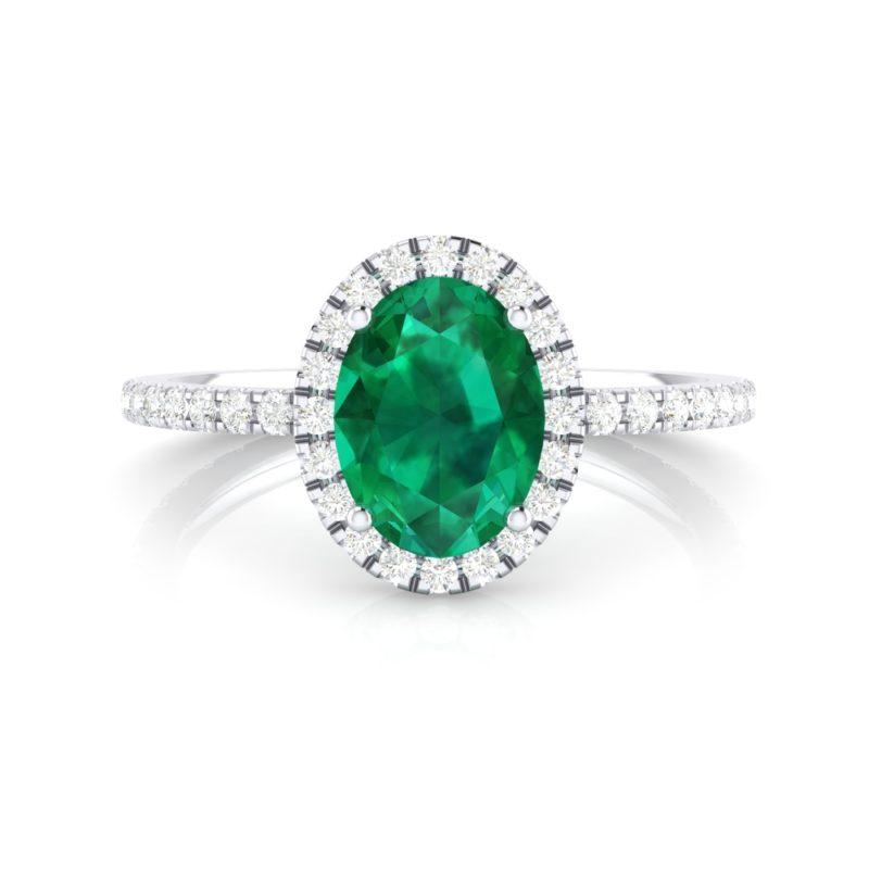 anillos de compromiso esmeralda y halo de diamantes