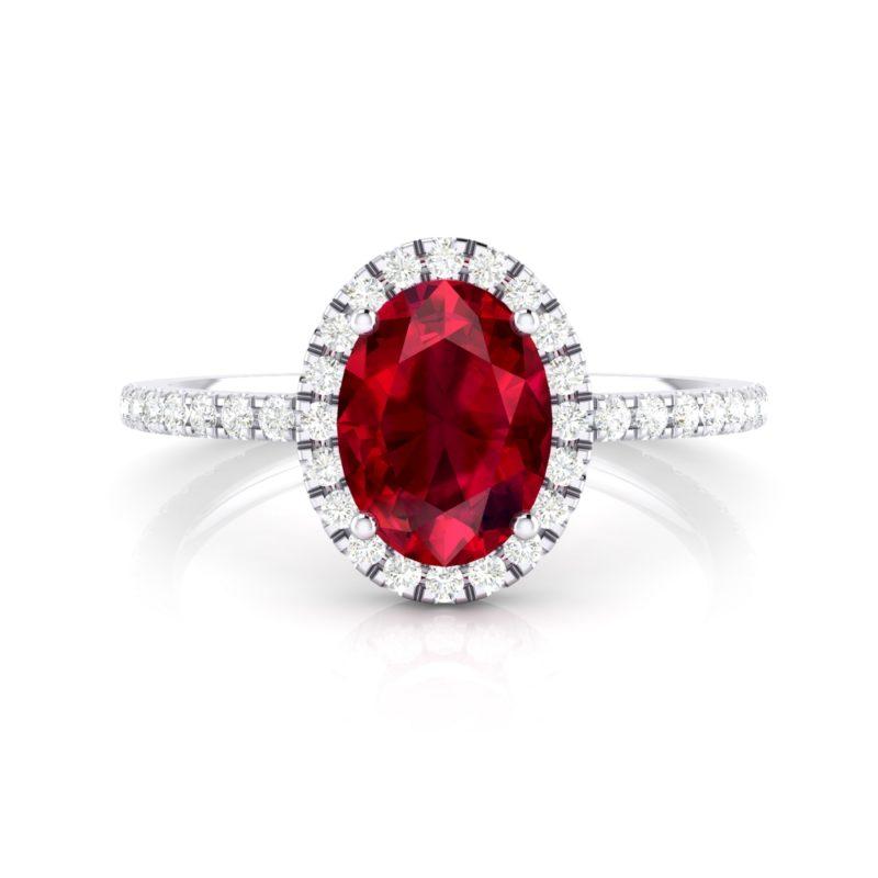 anillos de compromiso rubí y diamantes
