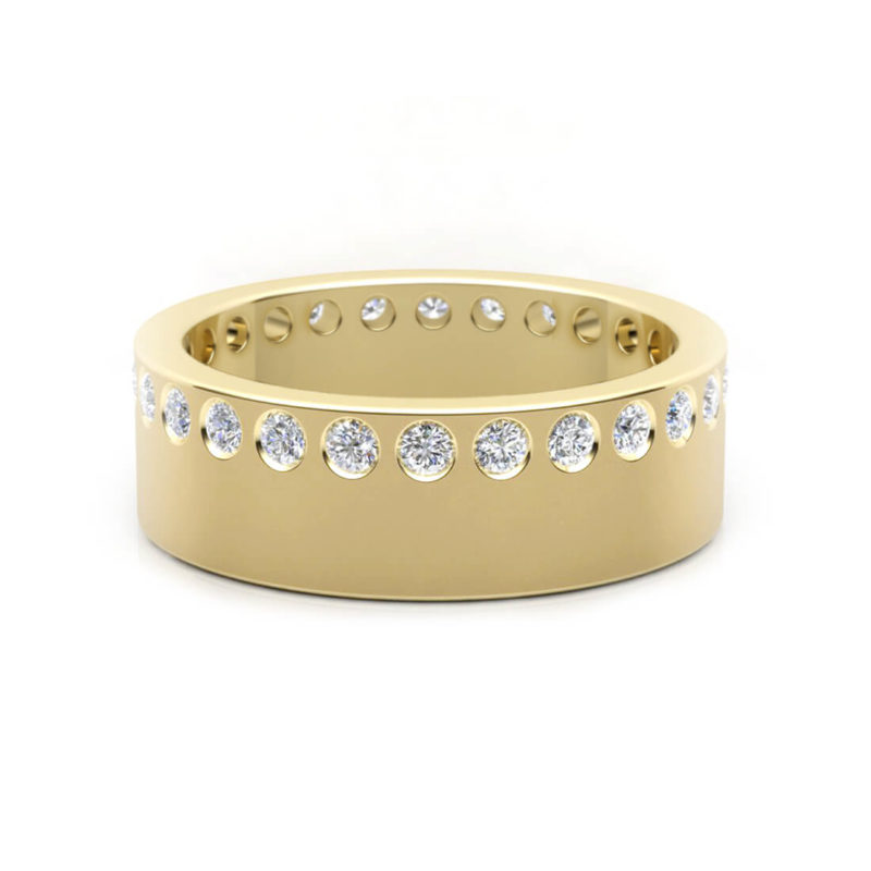 alianza oro amarillo con diamantes mujer
