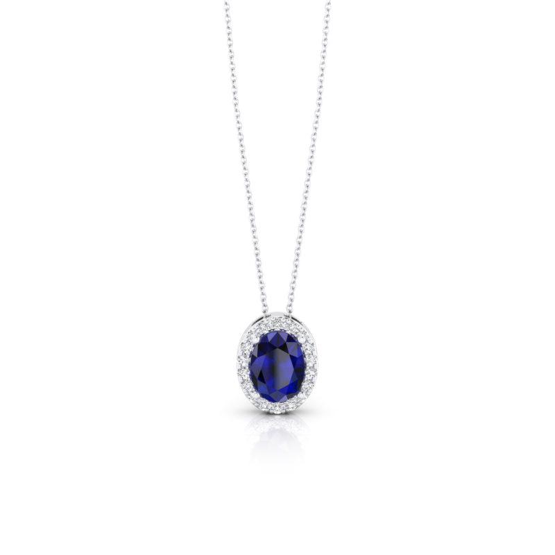 collar con zafiro azul