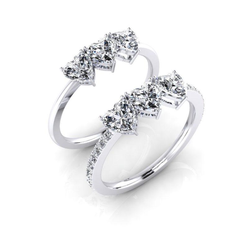 anillo con diamante corazón