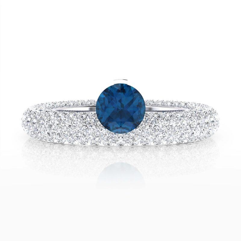 anillo con zafiro azul natural