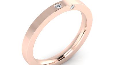 Alianzas de oro rosa con diamantes para novias románticas