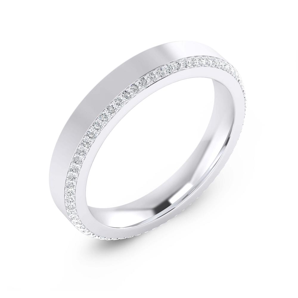 Foto de perfil  de alianza de boda de oro blanco y diamantes negros