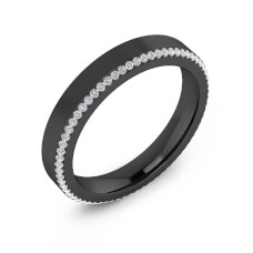 Aliança de casament or negre 18k amb 68 diamants
