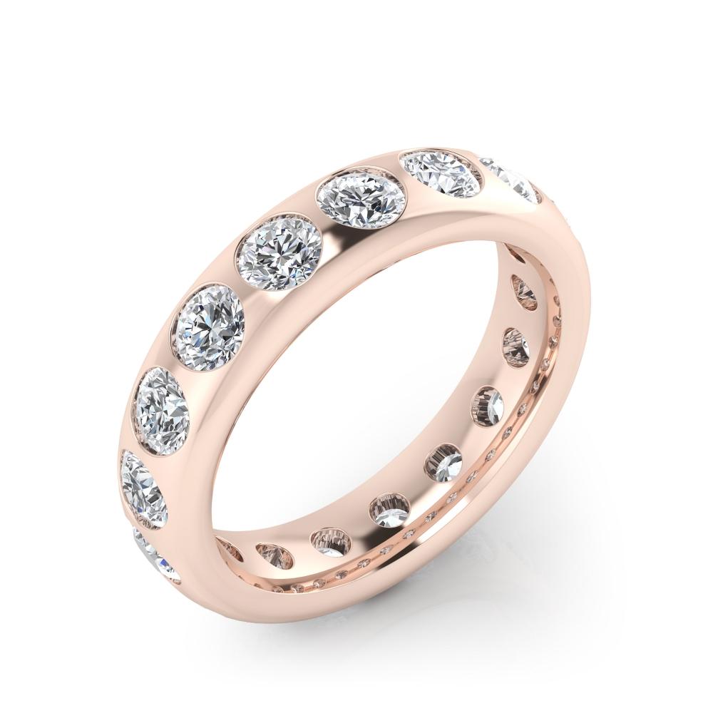 foto de perfil de alianza de oro rosa con diamantes