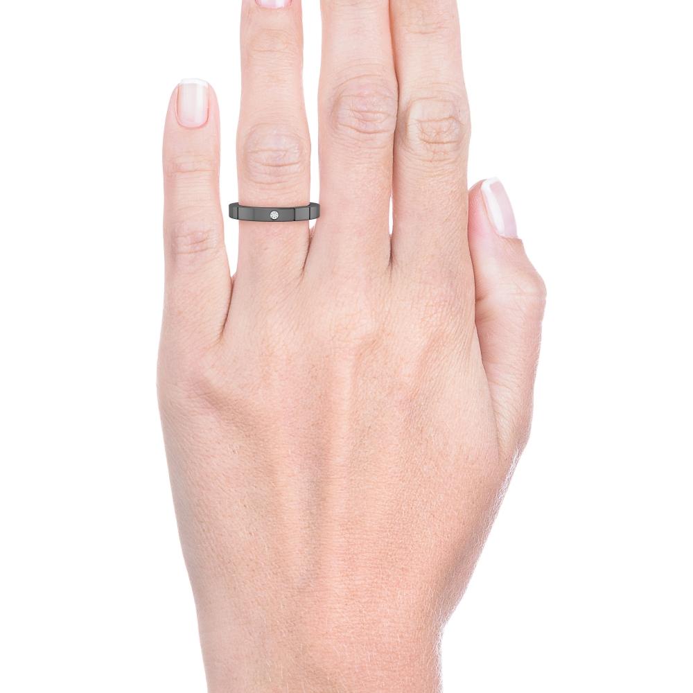 Aliança de casament or blanc 18k 1 diamants negre brillant