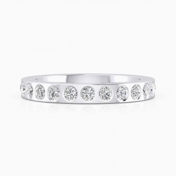 Aliances de casament or blanc 18k amb 14 diamants