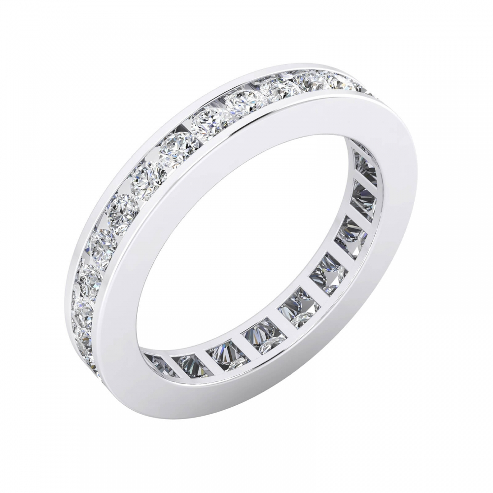 Aliances de casament or blanc 18k diamants en talla brillant