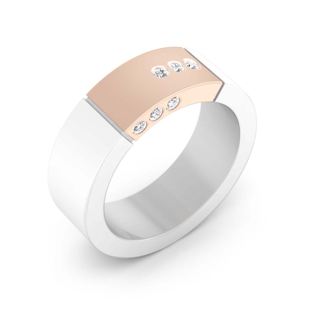 Aliança de casament or  blanc i or vermell amb 6 diamants
