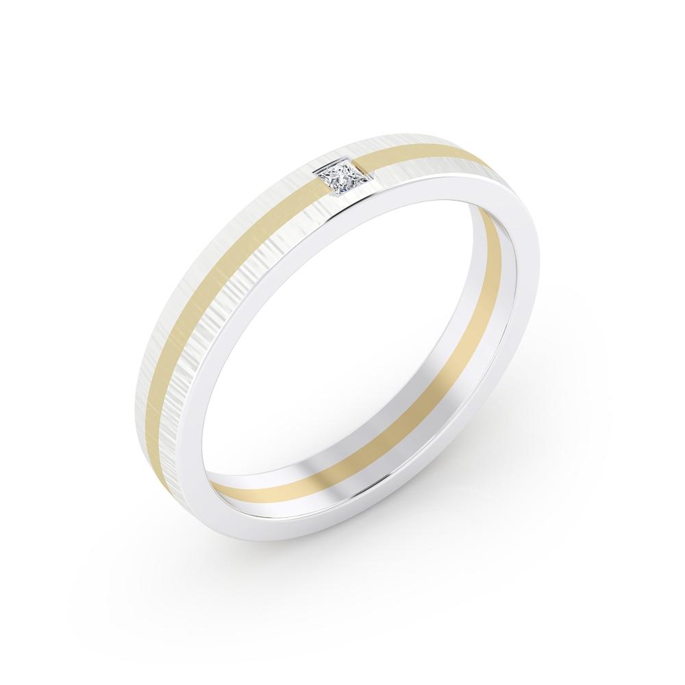 foto de perfil de alianza de compromiso deoro blanco y amarillo y diamante talla princesa