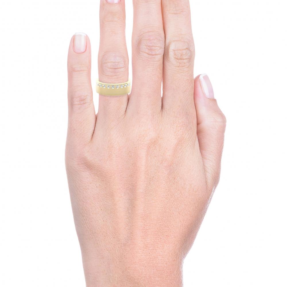 Aliança de Casament or groc 18k amb 26 diamants