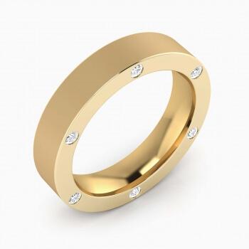 Aliança de Casament or groc amb 6 diamants