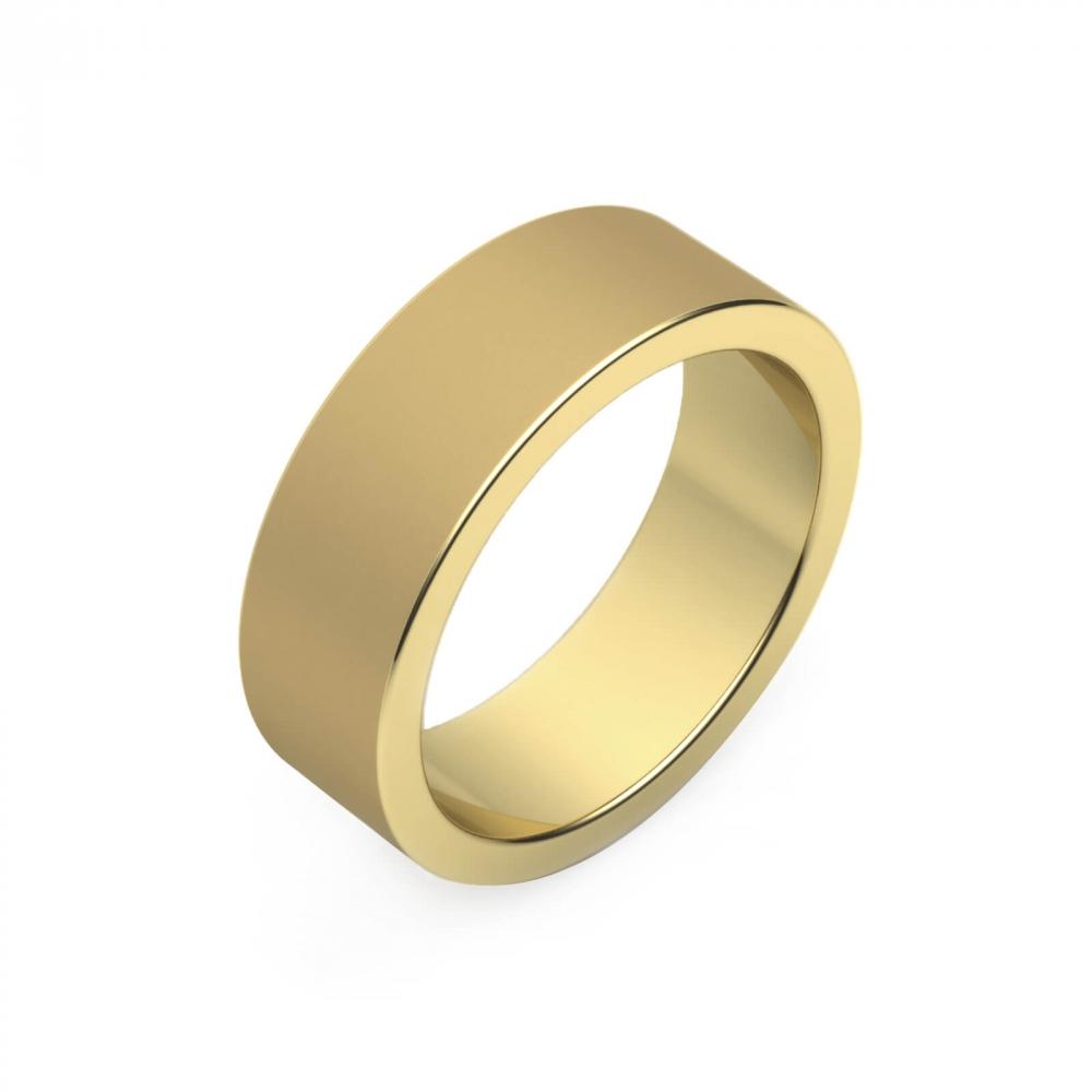 foto de perfil de Alianza de boda de oro amarillo para hombre plana