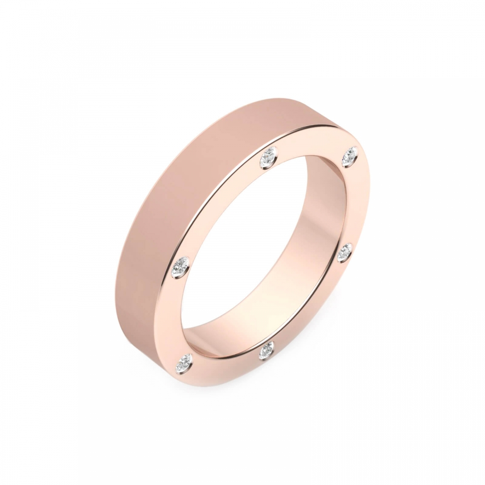 Aliança de Casament or rosa 18k amb 6 diamants