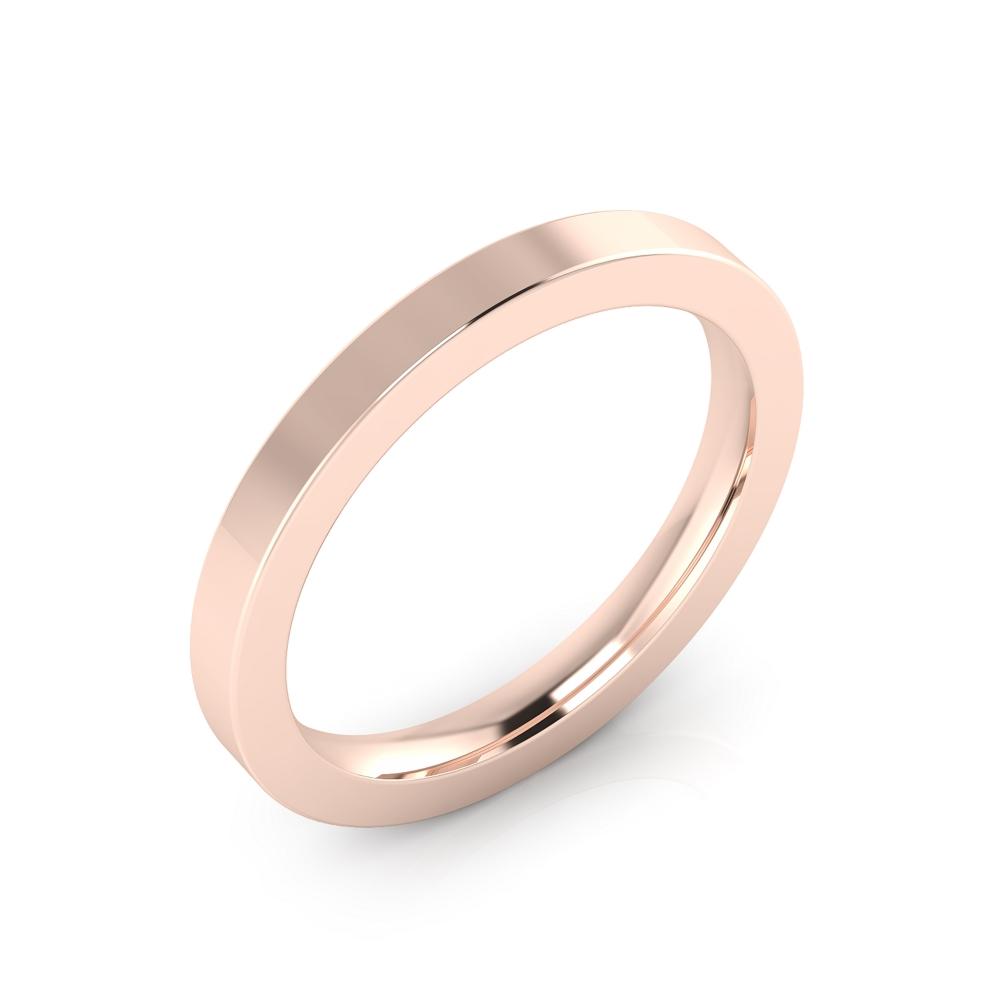 Aliança de boda realitzada en or rosa de 18kt amb acabat brillant