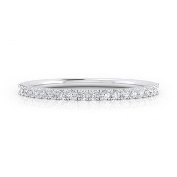 Mitja aliança de diamants realitzada en or blanc de 18kq