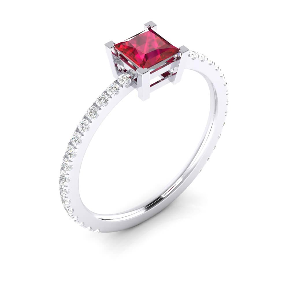 Anell de compromís amb Rubelita vermella i diamants