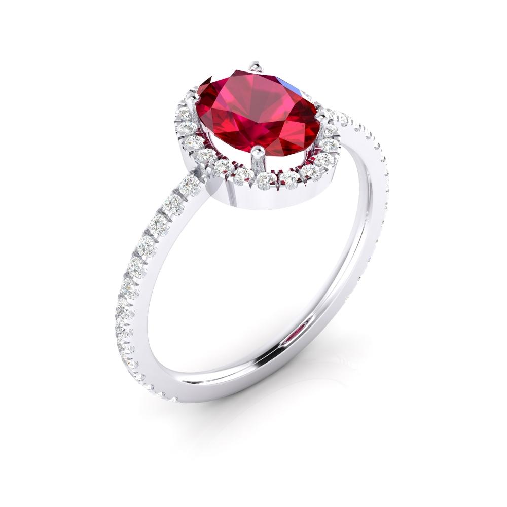 Anell de compromís amb rubí i orla de brillants