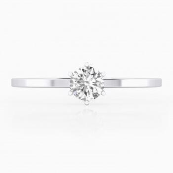 Anell de compromis en or blanc amb 1 diamant talla rodona