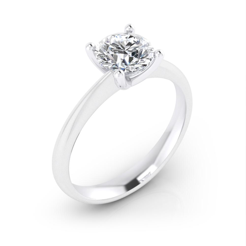 Solitari de compromís d'or blanc de 18q. amb diamant central talla brillant