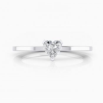 Anell de compromis en or blanc amb 1 diamant talla cor. ( -20% !)