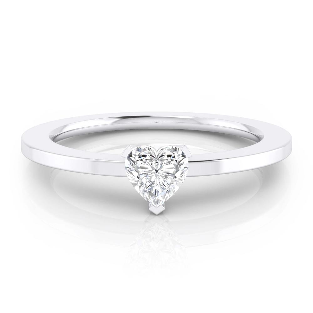 Anillo de pedida de oro blanco y diamante talla corazón