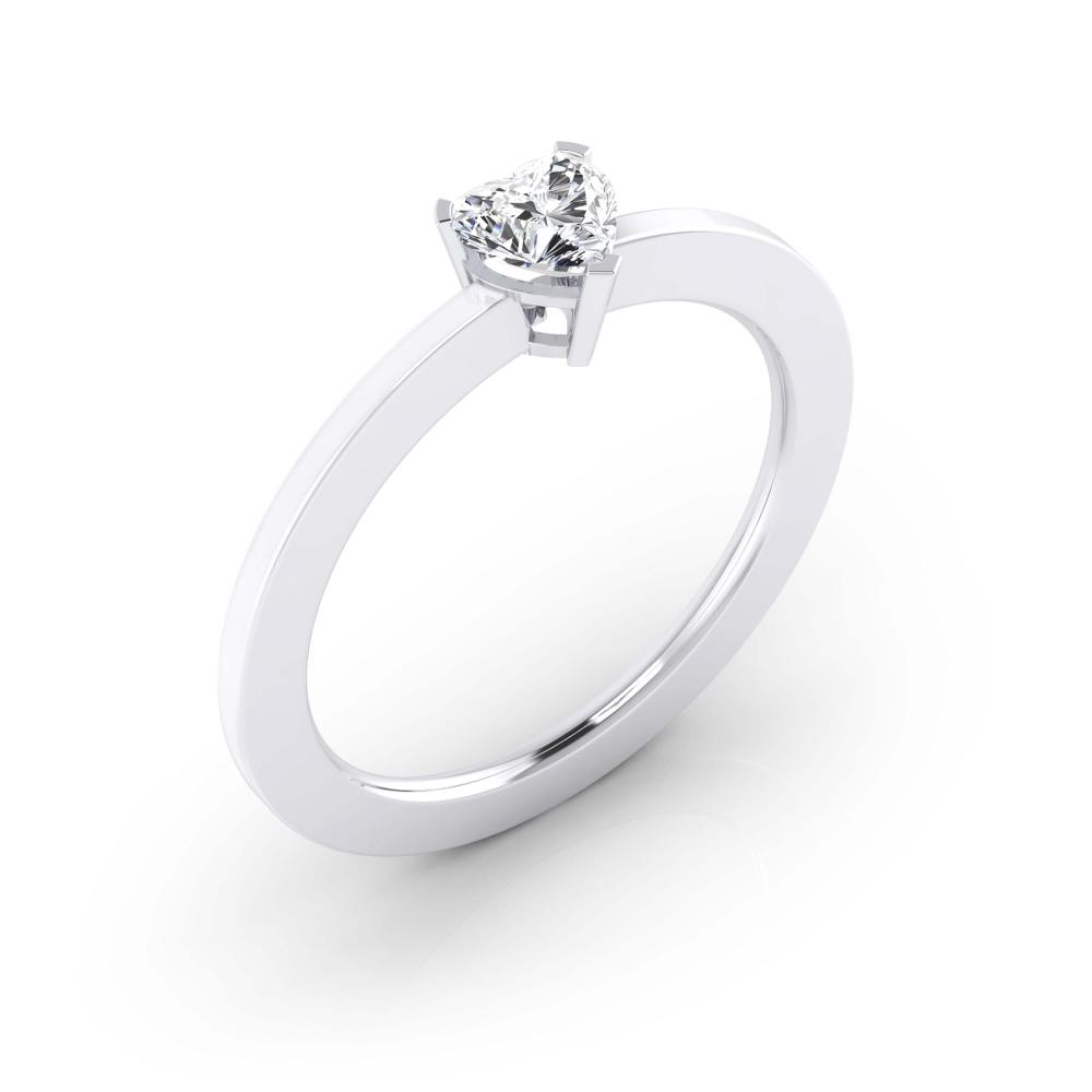 foto de perfil Anillo de compromiso de oro blanco y diamante talla corazón