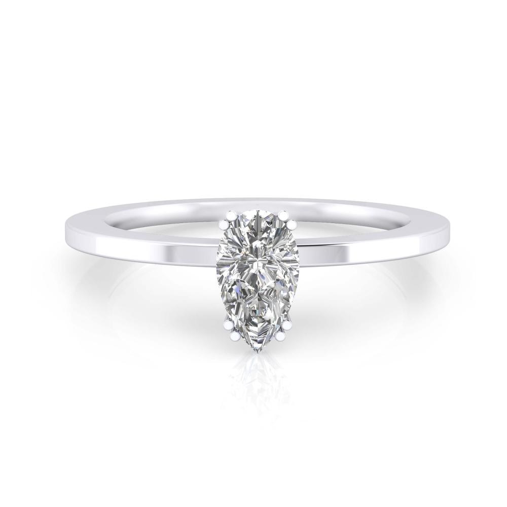 Anillo de compromiso de oro blanco y diamante talla pera