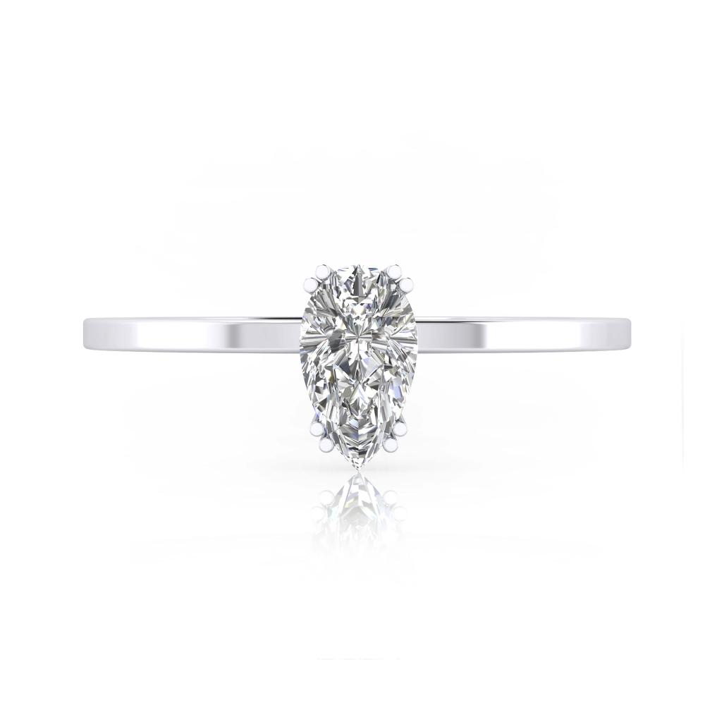 foto frontal de Anillo de compromiso de oro blanco y diamante talla pera