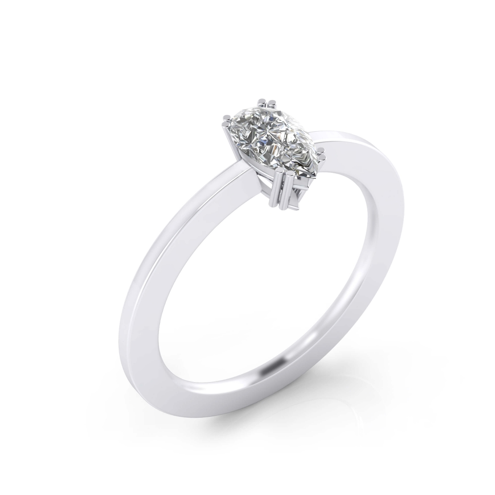 foto de perfil de Anillo de compromiso de oro blanco y diamante talla pera