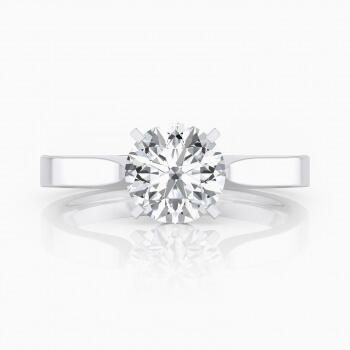 Anell de compromís clàssic, de quatre puntes, estil solitari, d'or blanc de 18 quirats