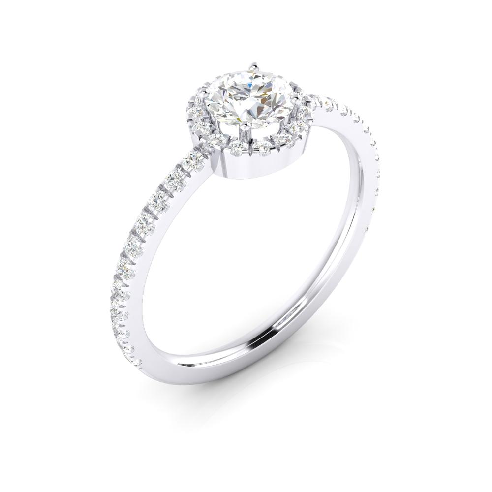 Anell de compromís amb diamant i orla de brillants