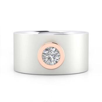 Anell de Compromís or blanc 18k amb muntura or rosa
