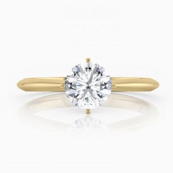 Anell de compromís, refinat, de quatre puntes, estil solitari, d'or groc de 18 quirats