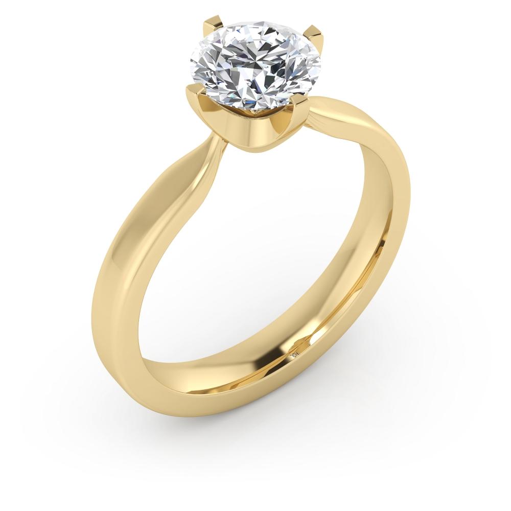 Anell de compromís exclusiu, de quatre puntes, estil solitari, d'or groc de 18 quirats