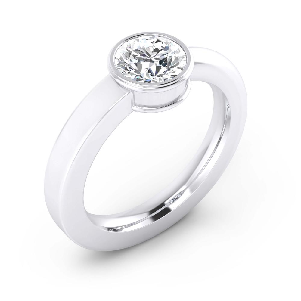 Anells de Compromis en or blanc 18k 1 diamant