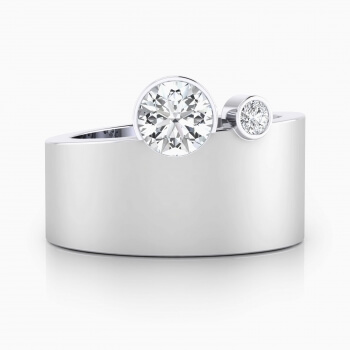 Anells de Compromis en or blanc 18k 2 diamants